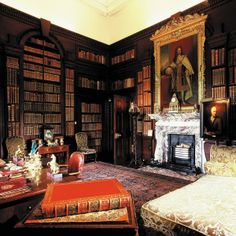 The Library at Houghton Hall, with Sir Robert Walpole's daybed and a matching pair of side chairs.