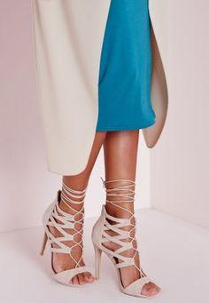 Sandales à talons nude à lanières
