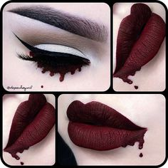 "@thekatvond ""Vampira"" Liquid Matte Lipstick. @nyxcosmetics Matte Eyeshadows. All @kizmet brushes used."