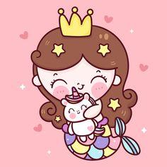 Cute Mermaid, Mermaid Art, Cute Kawaii Drawings, Kawaii Cute, Little Mermaid Cartoon, Hug Cartoon, Unicorn Wallpaper Cute, Unicornios Wallpaper, Doodle