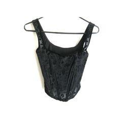 Black Burnout Velvet Bustier Corset Size XS by darlingtoniavintage, $18.00