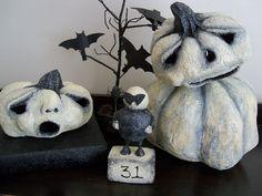 cute handmade paper mache pumpkins