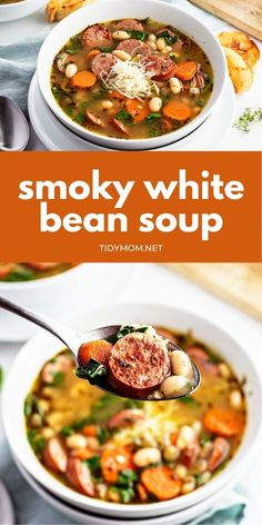 This easy WHITE BEAN SOUP with smoked sausage is an easy dinner recipe that only needs a handful of simple ingredients, is full of flavor, and always has everyone asking for seconds! The perfect hearty comfort dish you'll want to make all year-round. PRINTABLE RECIPE + VIDEO at TidyMom.net Chili Recipes, Best Soup Recipes, Bean Recipes, Crockpot Recipes, White Bean Soup, White Beans, Printable Recipe, Easy Dinner Recipes, Dinner Ideas