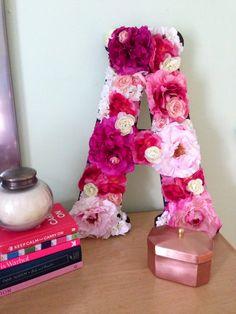 letter a floral decoration images diy floral letter baby board floral 22687 Letters Ideas, Diy Letters, Wooden Letters, Diy And Crafts, Arts And Crafts, Home Decoracion, Flower Letters, Diy Décoration, Diy Art