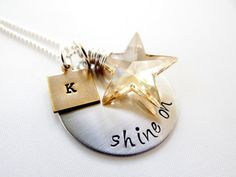 Shine On  Stainless Steel Personalized Necklace by BBeadazzled, $34.00 Stamping Tools, Metal Stamping, Small Plastic Bags, Hand Stamped Necklace, Just Because Gifts, Personalized Necklace, Heart Jewelry, Ball Chain, Graduation Gifts