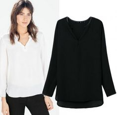 AUTUMN NEW FASHION WOMEN'S SOLID V-NECK LONG-SLEEVED SHIRT ST2288