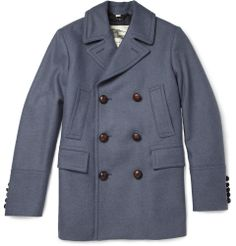 Burberry LondonLeather-Trimmed Wool Peacoat|MR PORTER