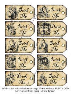 Drink Me Alicia en país de las maravillas imprimibles por iDoDiY