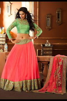 Stunning Pink & Mint Green #Lehenga Choli. Available At Aishwarya Design Studios.