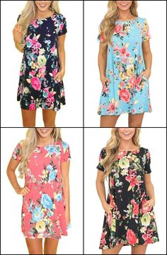 54a5ddfdad7 Women s Casual Pink Floral Mini Summer Dress