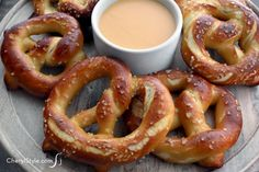 Homemade soft pretzels with cheese sauce - CherylStyle