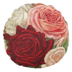 Shop Vintage Gardening Roses Round Pillow created by VintageWishes. Vintage Gardening, Round Pillow, Diy Pillows, Rose Bouquet, Vintage Roses, Rose Buds, Vintage Shops, Crafty, Pattern