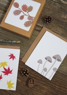 assorted note set / blank note cards / forest stationery / woodland by Modern Printed Matter on Etsy