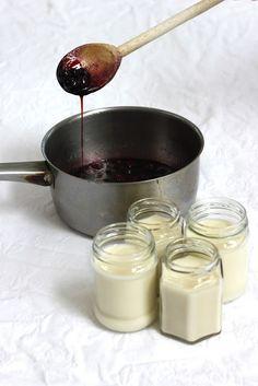 Making Coconut Blackberry panna cotta