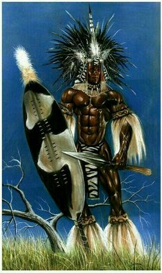 Shaka Zulu (though no picture or real life account from his peers of his life and person exists. of accounts of Shaka come from the British and Boer propaganda machine) Mais African Culture, African History, African Art, African Women, African American Artwork, Orisha, Zulu Warrior, Warrior King, Woman Warrior