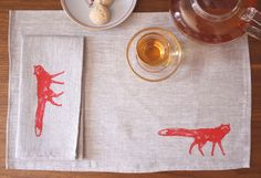 placemats, fox.  Etsy.