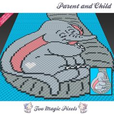 Parent and Child crochet blanket pattern; knitting, cross stitch graph; pdf download; no written counts or row-by-row instructions by TwoMagicPixels, $3.79 USD
