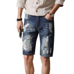 Click to Buy    Fashion Men s summer casual vintage blue pockets biker jeans 8736396f9b4d
