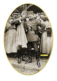 """""""Kolağası (senior captain) Mustafa Kemal and Ali Fethi at the Picardie Maneuvers in France, Turkish Soldiers, Turkish Army, Historical Women, Historical Pictures, Ottoman Turks, Blue Green Eyes, Asian History, British History, The Turk"""