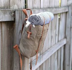 Khaki Waxed Leather Canvas Backpack by SoBag1989