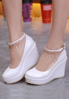 146c5774c2a White Round Toe Rhinestone Chain Casual Buckle Wedges Shoes