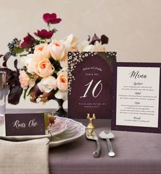 Blush + burgundy wedding centerpiece for a Minted photo shoot