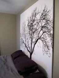DIY Headborad (Shower Curtain + Wooden Frame = Homemade Headboard)