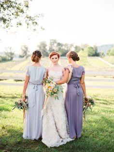 purple bridesmaid dresses http://www.weddingchicks.com/2013/10/01/romantic-wedding-inspiration/