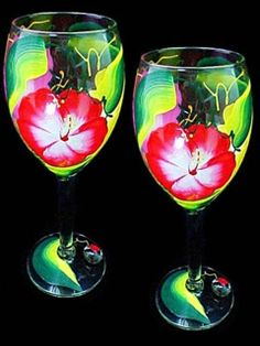 Set of (2) large 16oz. Hibiscus Hand Painted Wine Glasses wineablegifts.com
