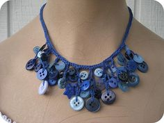Blue Crochet Necklace with buttons by Just Be Happy Crochet, via Flickr