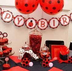 This party was created with black and red solids and works on a budget.