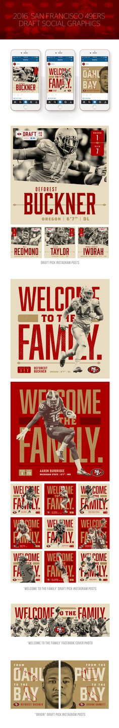 As a member of the Creative and Brand team at the 49ers, I was tasked with creating the look and feel for social graphics regarding the 2016 49ers draft class. These graphics held a number of uses including the draft pick announcement as well as generally…