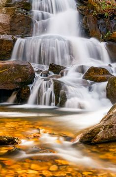 Laurel Falls, a popular waterfall in Great Smokey Mountains National Park, Tennessee.  Kenneth Keifer