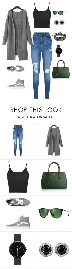 """city exploring on a saturday"" by amarie003 on Polyvore featuring Lipsy, Topshop, Prada, Vans, Ray-Ban, I Love Ugly and AeraVida"