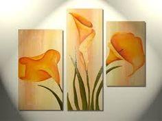 Resultado de imagen para cuadro triptico de calas Diy Canvas, Canvas Wall Art, Bedroom Murals, Silk Art, Gourd Art, Calla Lily, Diy Flowers, Diy Painting, Flower Art