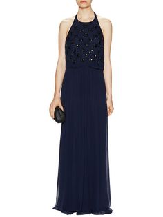 Chiffon Popover Gown with Heat Sets by Aidan Mattox at Gilt