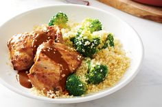 Maple-Mustard Chicken Thighs with Lemon-Broccoli Couscous—Simple pantry ingredients make a flavourful sweet-and-sticky glaze for juicy chicken thighs. Feel free to use frozen broccoli for the couscous, if that's what you have on hand. (Psst, it's cheaper than fresh broccoli, and precut florets will cut down on prep time.) Cost: $3.50 per serving