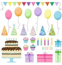 Set of vector birthday party elements. Birthday Party Clipart, Birthday Party Design, 1st Birthday Parties, Boy Birthday, Happy Birthday, Diy And Crafts, Crafts For Kids, Planner, Balloons