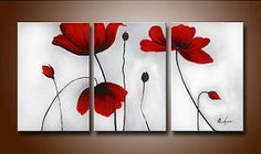 Embellish any room or hallway with this canvas art set. The lush red flowers in this beautifully hand-painted set are a great source of color for your home. Each painting will draw the attention of yo