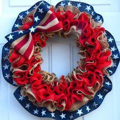 Trending Now/Patriotic Wreath/Army Homecoming/ Air Force   Etsy #FabricCutter Flag Wreath, Patriotic Wreath, Patriotic Decorations, Patriotic Crafts, Luftwaffe, Burlap Ribbon, Wreath Burlap, Wreath Crafts, Wreath Ideas