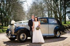 Celia & Gary's vintage car at Lanwades Hall wedding venue