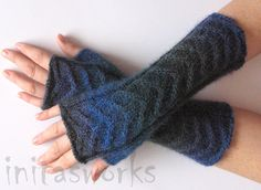 Fingerless Gloves Dark Blue Arm Warmers Knit Soft by Initasworks, $44.00