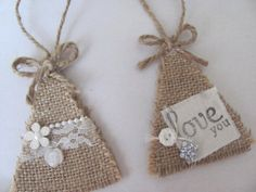 burlap christmas trees | Burlap Christmas Tree Ornaments | Rustic Christmas