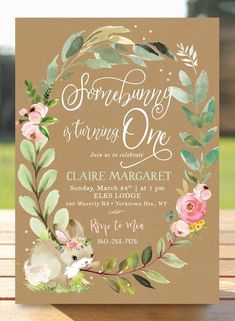 Some Bunny Is Turning One Girl's First Birthday Invitation - Somebunny Birthday Invite Flowers - Girl Florals - Little Kraft digital DIY - Annabell Diy Birthday Invitations, First Birthday Party Themes, Diy Birthday Decorations, Bunny Birthday, Baby Girl 1st Birthday, Women Birthday, Birthday Diy, Birthday Photos, Birthday Ideas