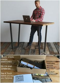 Urban Farmhouse Standing Wood Desk/Work Station. Buy a