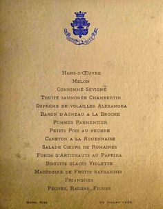 served at the Ritz in Paris on July 26th, 1899