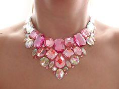 Pink Bib Necklace, Rhinestone Statement, Sparkly, Crystal AB and Pink, Rhinestone Bib Necklace, Shimmery, Formal