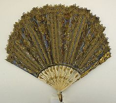 Fan  Date: ca. 1850 Culture: European Medium: ivory, silk Dimensions: Length: 8 3/8 in. (21.3 cm)