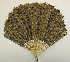 Fan, ca. 1850 - made of ivory & silk