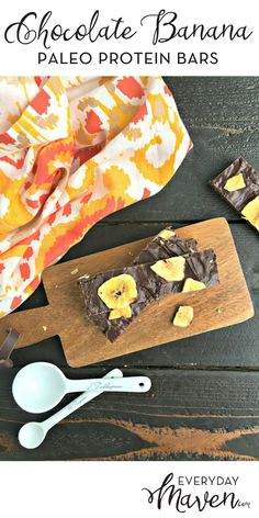 Chocolate Banana Paleo Protein Bars. No Bake Paleo Protein Bars loaded with nutrient dense foods and perfect for on the go or a healthy snack! via @EverydayMaven